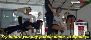 paddle demo at Spankys spanking shop