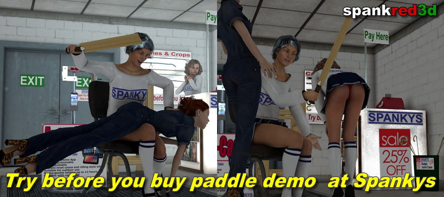 paddle demo at Spankys spanking shop