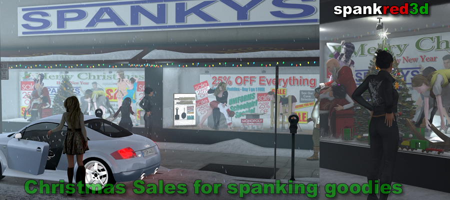 Spankys spanking Christmas window display