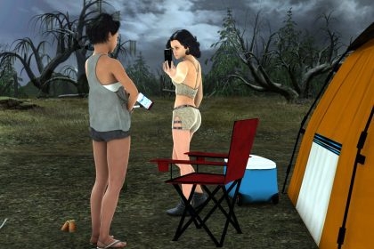 Camping girls spanking fun
