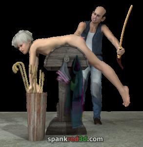 Basement beatings getting caned bare bottom