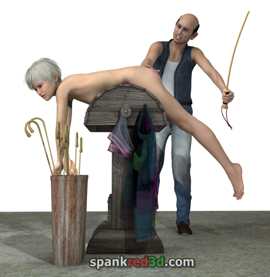Basement beatings getting caned bare bottom