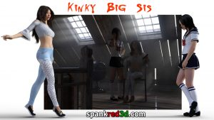 Kinky Big Sis spanking fun attic schoolgirl sissy boy