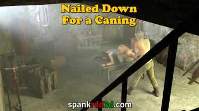Nailed Down in the cellar for a hard caning