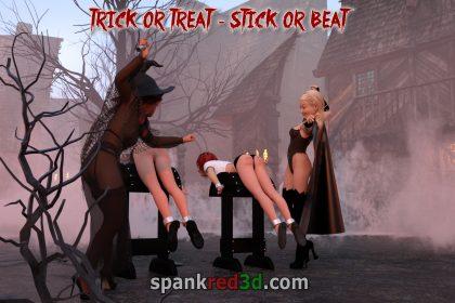 Caning bare ass teen girls Halloween