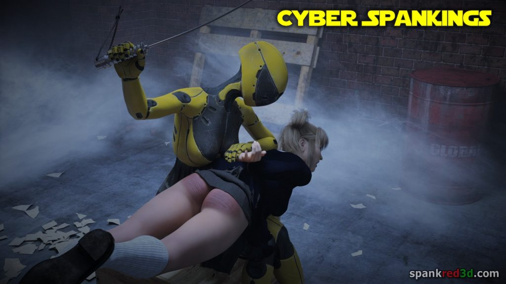 Caning by cyber spanking robot droid