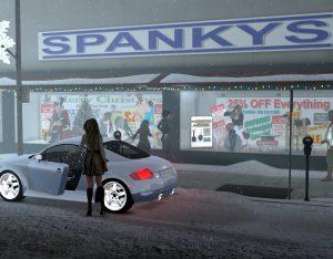 Spankys spanking shop Christmas display