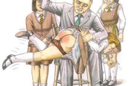 GJC spank art schoolgirl smacked bottom art
