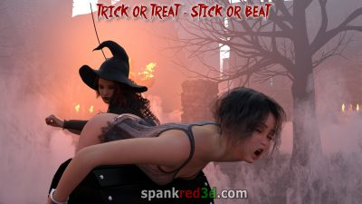Hard witches caning in the village for a treat