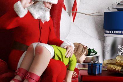 spanking christmas naughty bare bottom otk Santa spanks