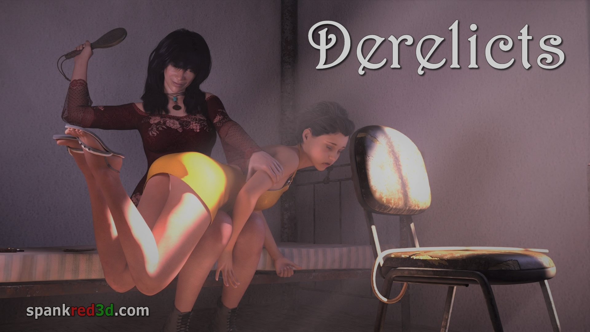 Spanking and caning in derelicts outdoors