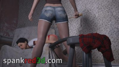Naughty schoolgirl bottom caned in a derelict building