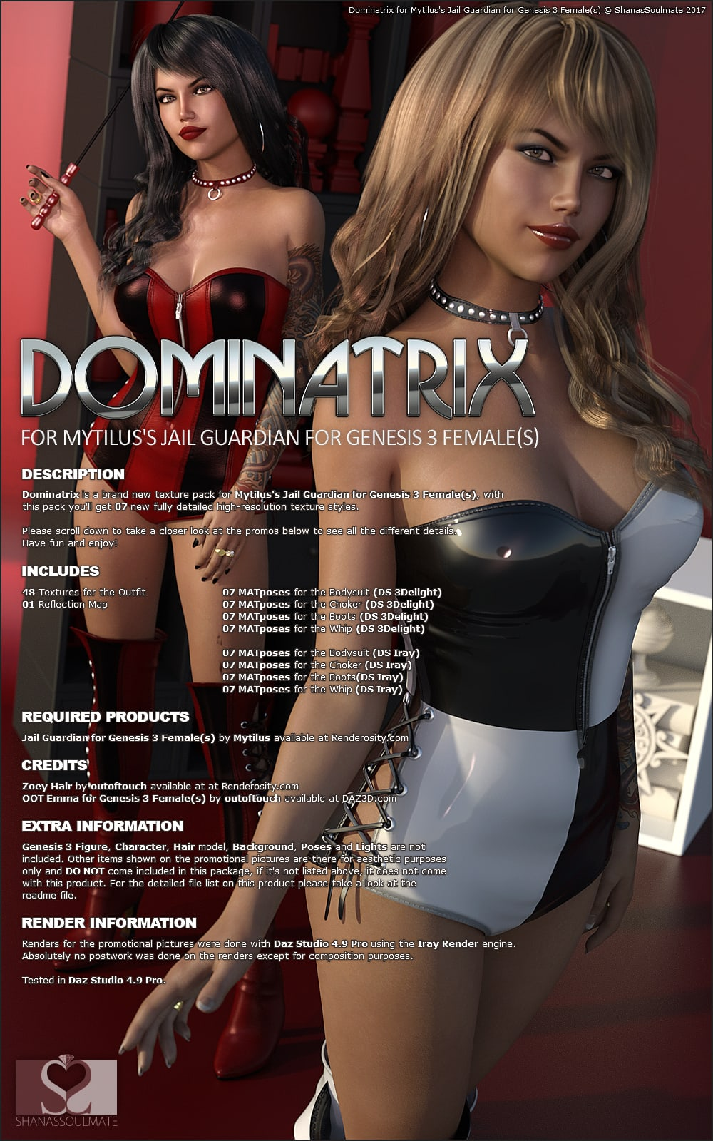 Dominatrix G3 outfit from Renderosity Creating Free Spanking Artwork