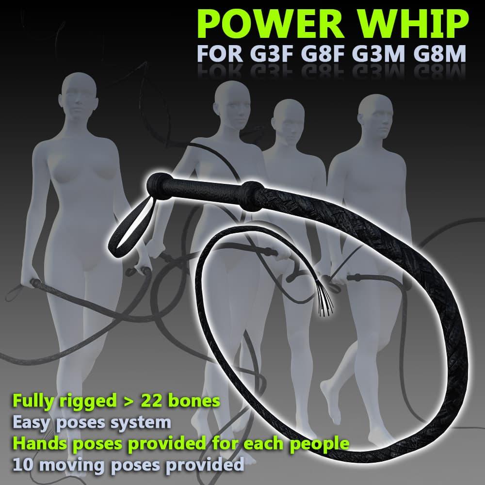 Power Whip for G3 G8 M3 M8 figures for Daz3d Studio
