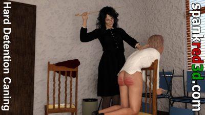 Naughty Schoolgirl Detention Caning