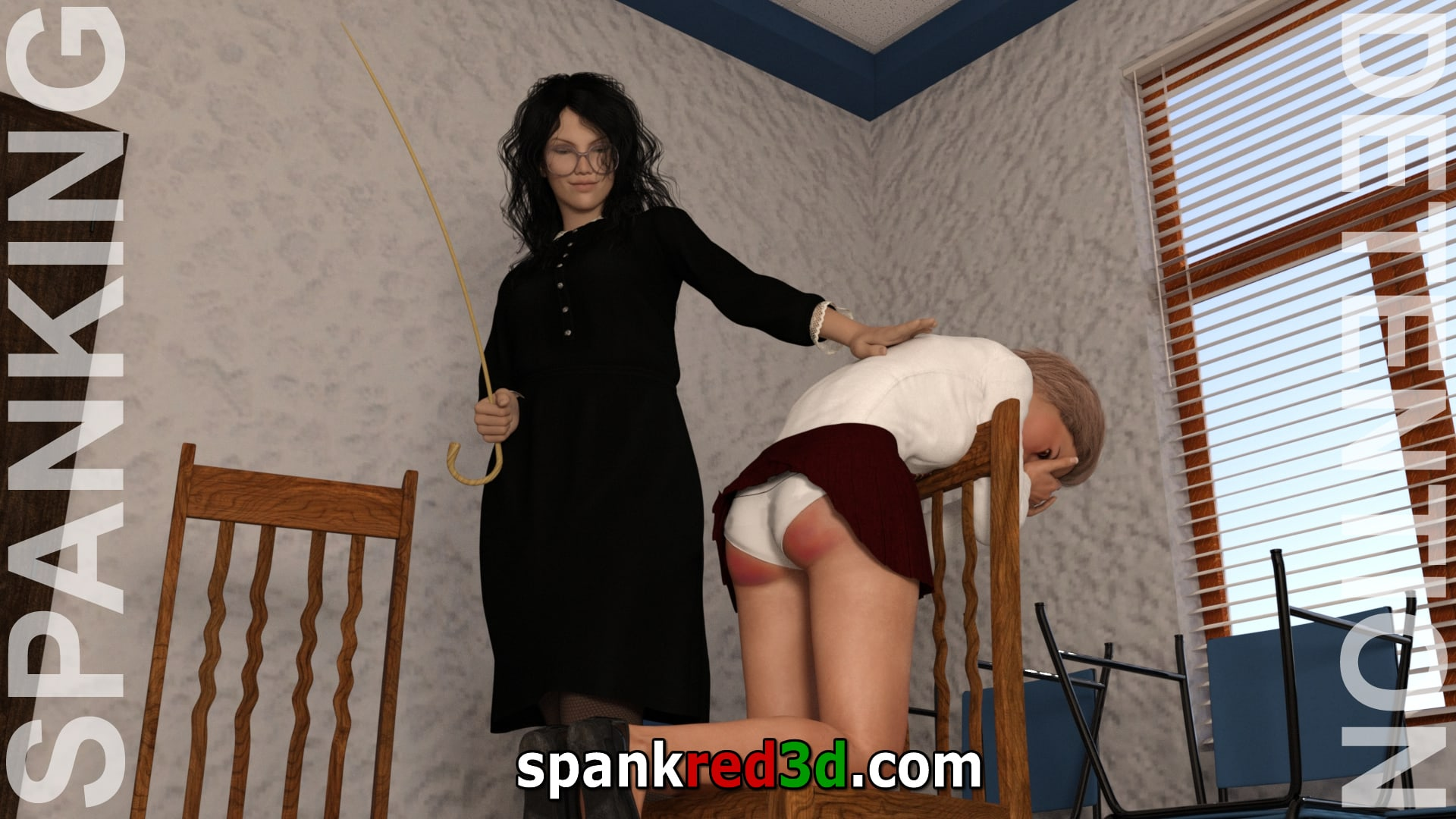 Schoolgirl caning during detention after her bottom has had a warm up spanking