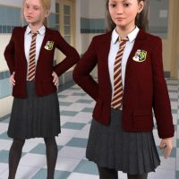 school uniform for Genesis 3 figures compatible with Daz3d