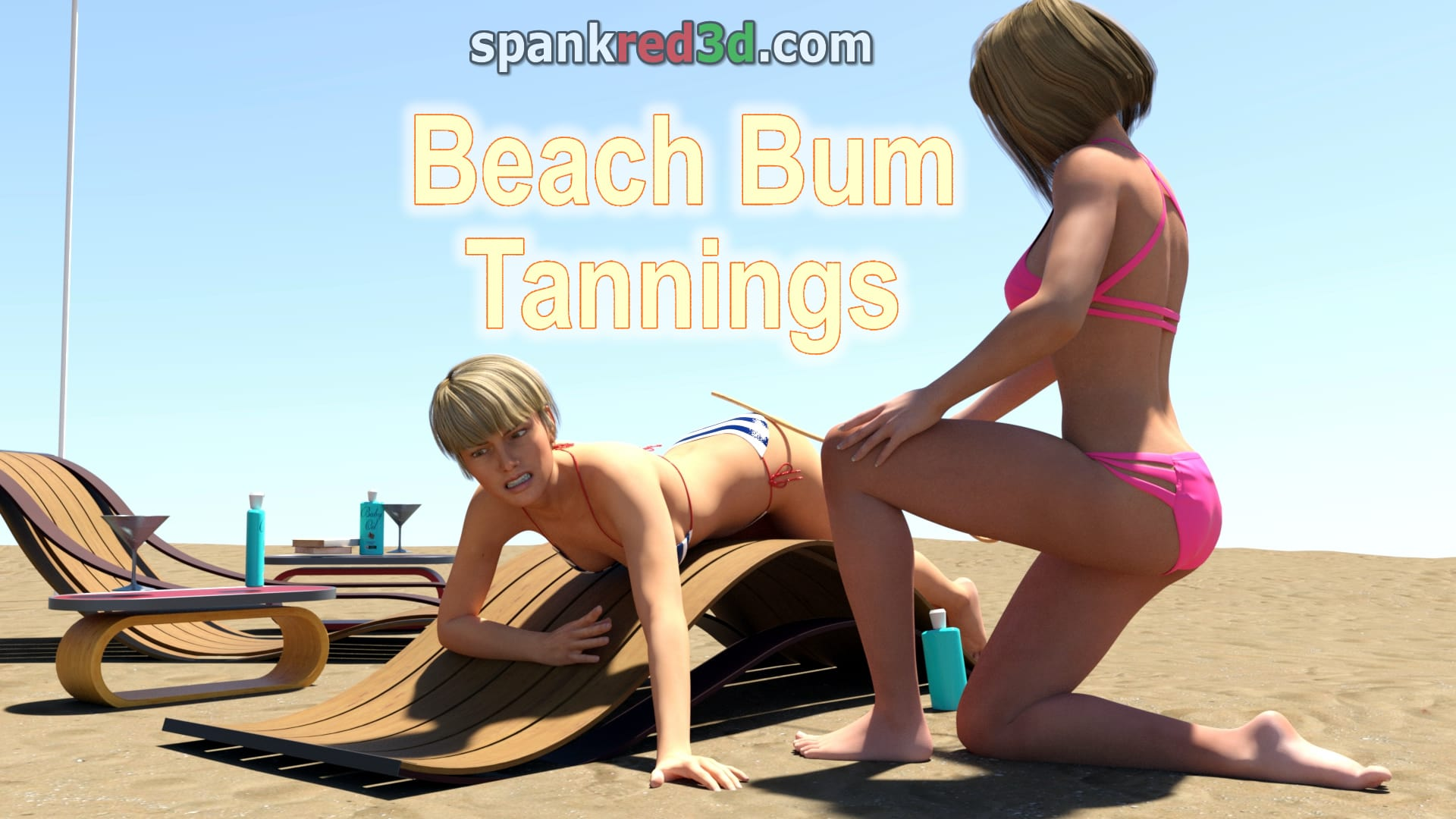 Beach Bum caning with naughty suntanned teen girs bottoms