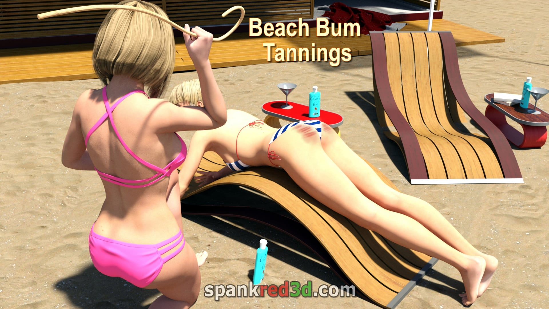 Tanned bottoms for naughty teen girls with hot stinging canned striped beach bums