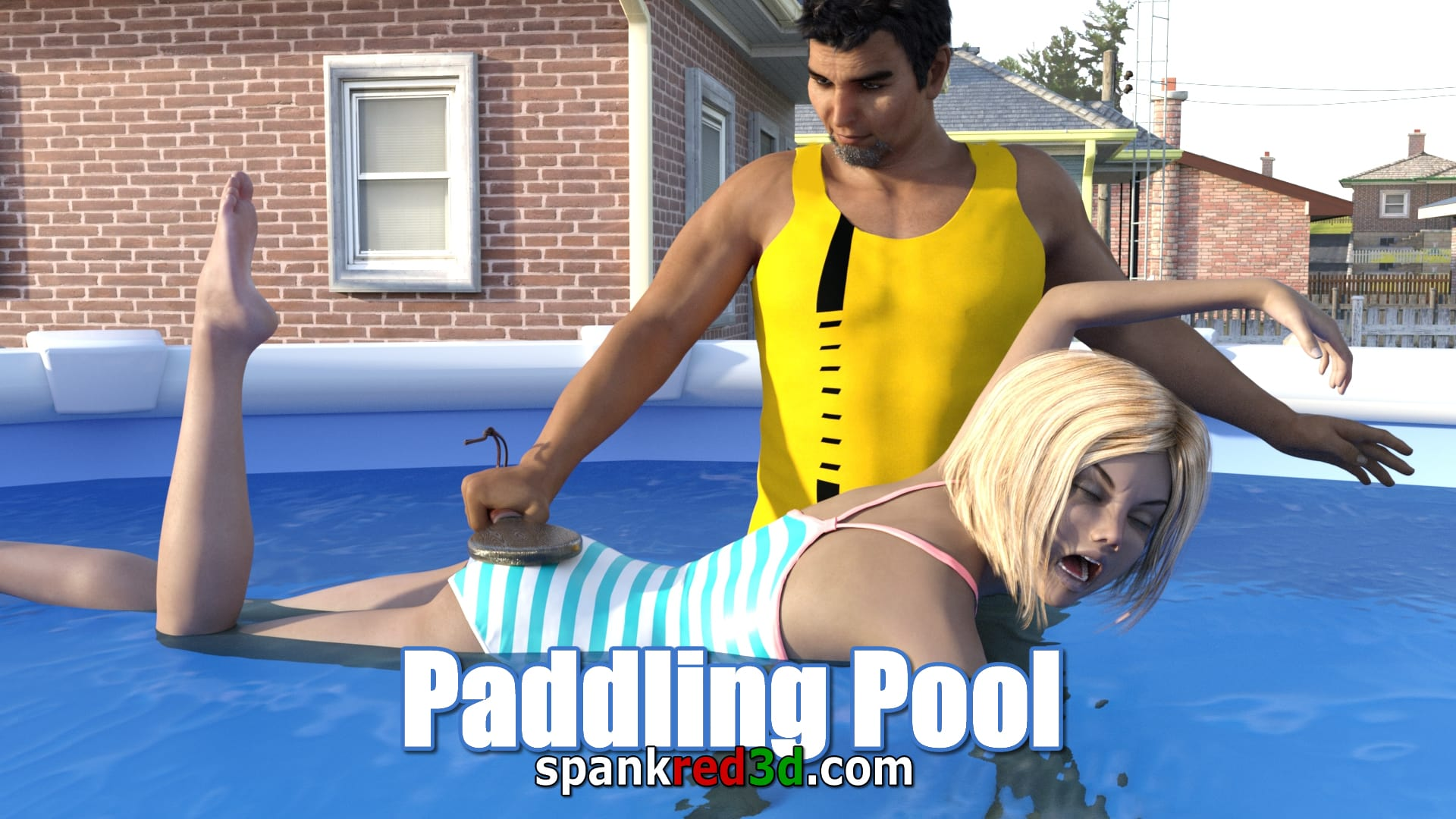 Paddling pool punishment. Hot wet bottom fun in the sun. Fun for the man with the paddle.