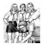 Schoolgirl spanking art